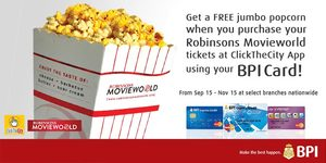 ClickTheCity Partners with BPI Rewards and Robinsons Movieworld to give you FREE Popcorn