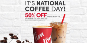 Tim Hortons National Coffee Day Offer 50% Off Your Second Cup