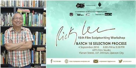 Ricky Lee workshop selection process set on September 4