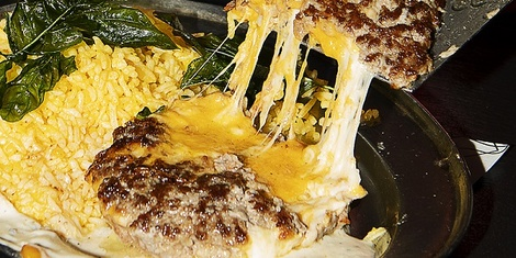 8Cuts Just Unveiled 'The Burger Bomb,' a Cheese-Stuffed Burger with Rice, Because Rice is Life