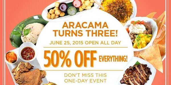 50 off menu all day this thursday aracama celebrates third anniversary with one day food. Black Bedroom Furniture Sets. Home Design Ideas