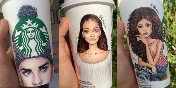 PHOTOS: Artist draws your favorite celebrities on Starbucks cups