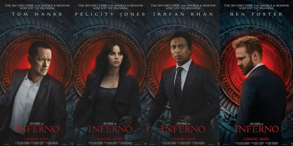 """Inferno"" Stars Featured in Special Character Posters"