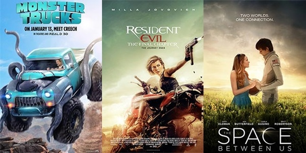 New Movies This Week: Resident Evil: The Final Chapter, The Space Between Us and more!