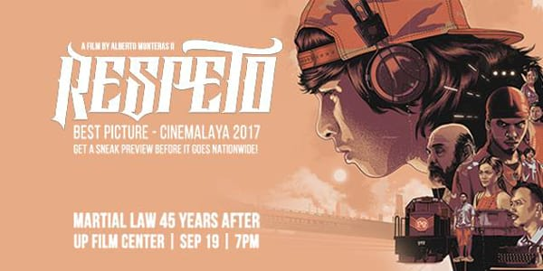 Cinemalaya Winning Entry 'Respeto' Releases During the Week of Martial Law
