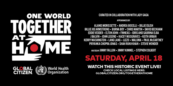 One World: Together At Home To Feature Contactless Concerts in Support of COVID-19 Frontliners