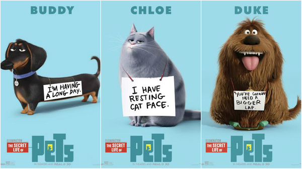 secret life of pets characters take a bow in own posters