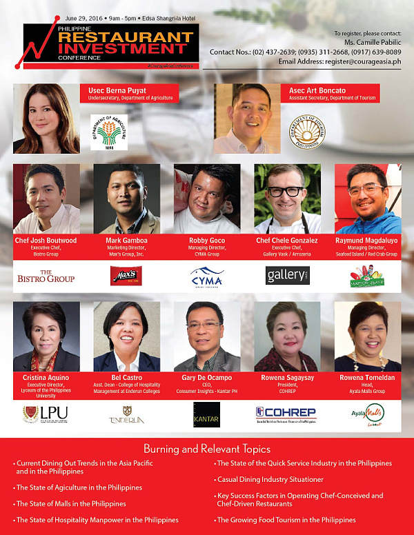 Philippine Restaurant Investment Conference Speakers