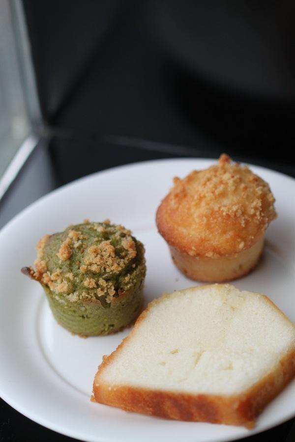 Yuzu Pound Cake, Miso Muffin, and Green Tea Muffin