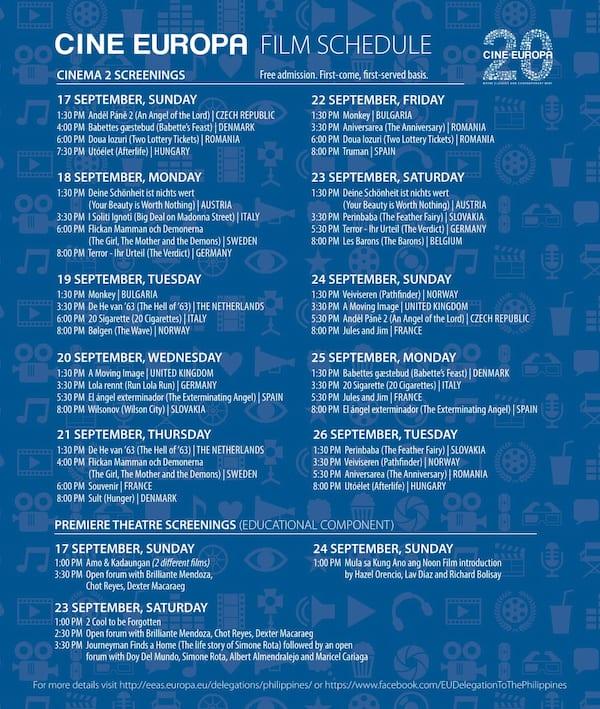 Cine Europa Film Schedule