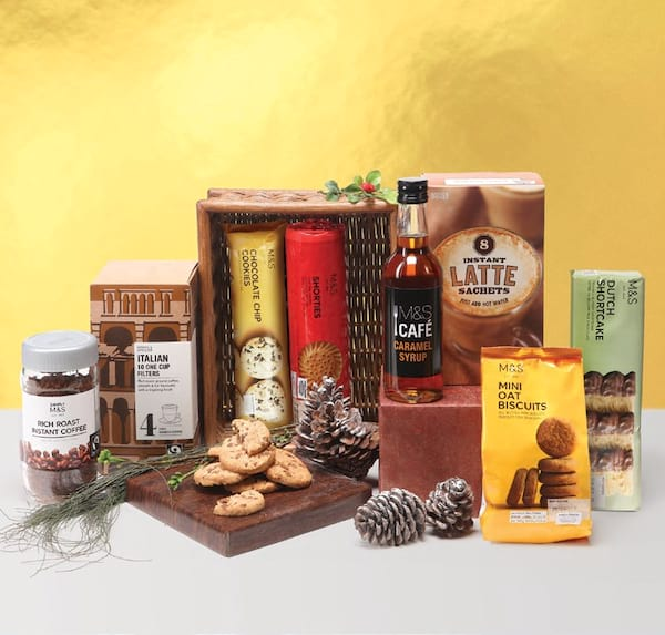 Coffee Lovers' Surprise (P1,995): gift a delicious coffee experience with this M&S hamper that incudes Rich Roast Instant Coffee, Instant Latte, ...