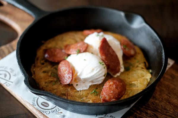 Rosti with Spanish Chorizo and Poached Eggs