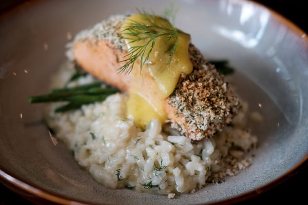 Herb Crusted Salmon with Lemon Risotto