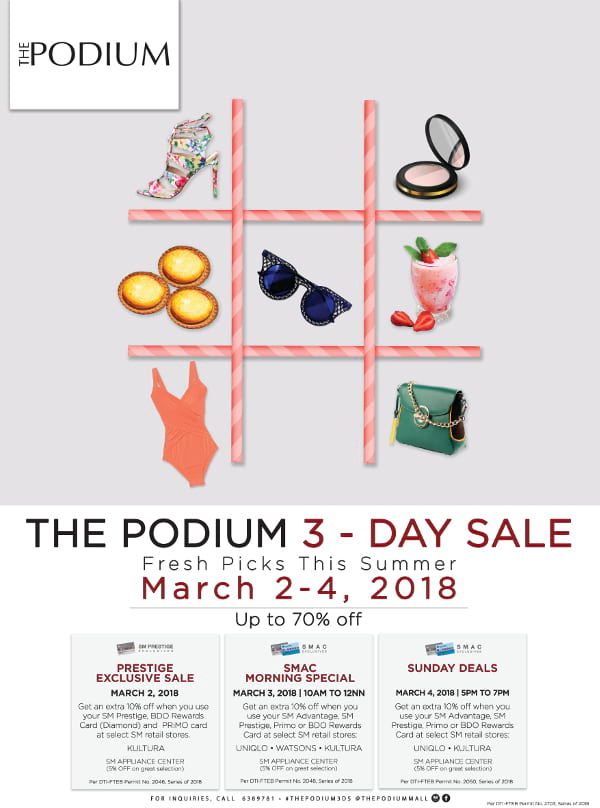 The Podium 3 Day Sale 2018