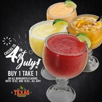 TGIFridays, Village Tavern and Texas Roadhouse on JULY 4 Promo
