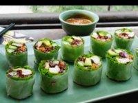 Fresh Chicken Rolls with Avocado, Brown Rice and Spicy Peanut Dip