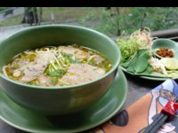 Hue Rice Noodle Soup with Beef, Fresh Greens and Bean Sprouts