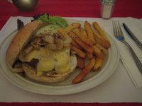 Apartment 1B: Beef Burger w/ swiss cheese, onions & mushrooms