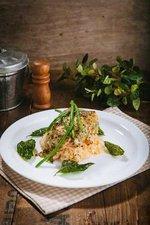 Salmon with Pesto Parmesan Sauce
