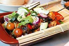 Shrimp and Tanigue Sambal Kebabs