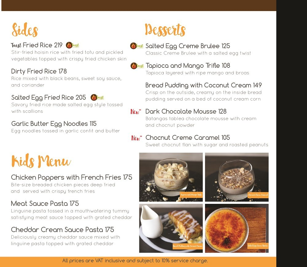 Toast Asian Kitchen & Tasting Room Menu @ ClickTheCity Food & Drink
