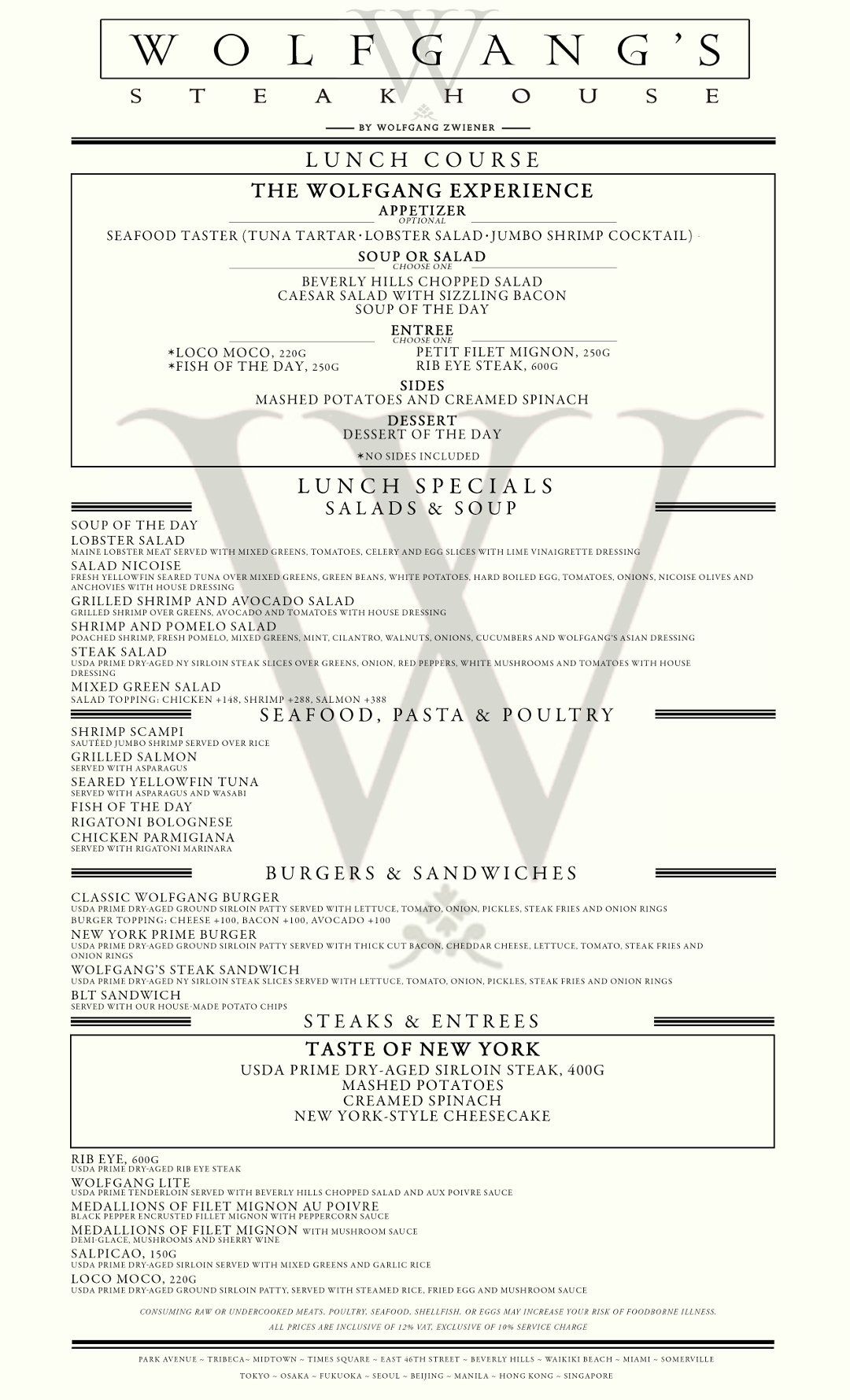 Wolfgang S Steakhouse Menu Clickthecity Food Drink