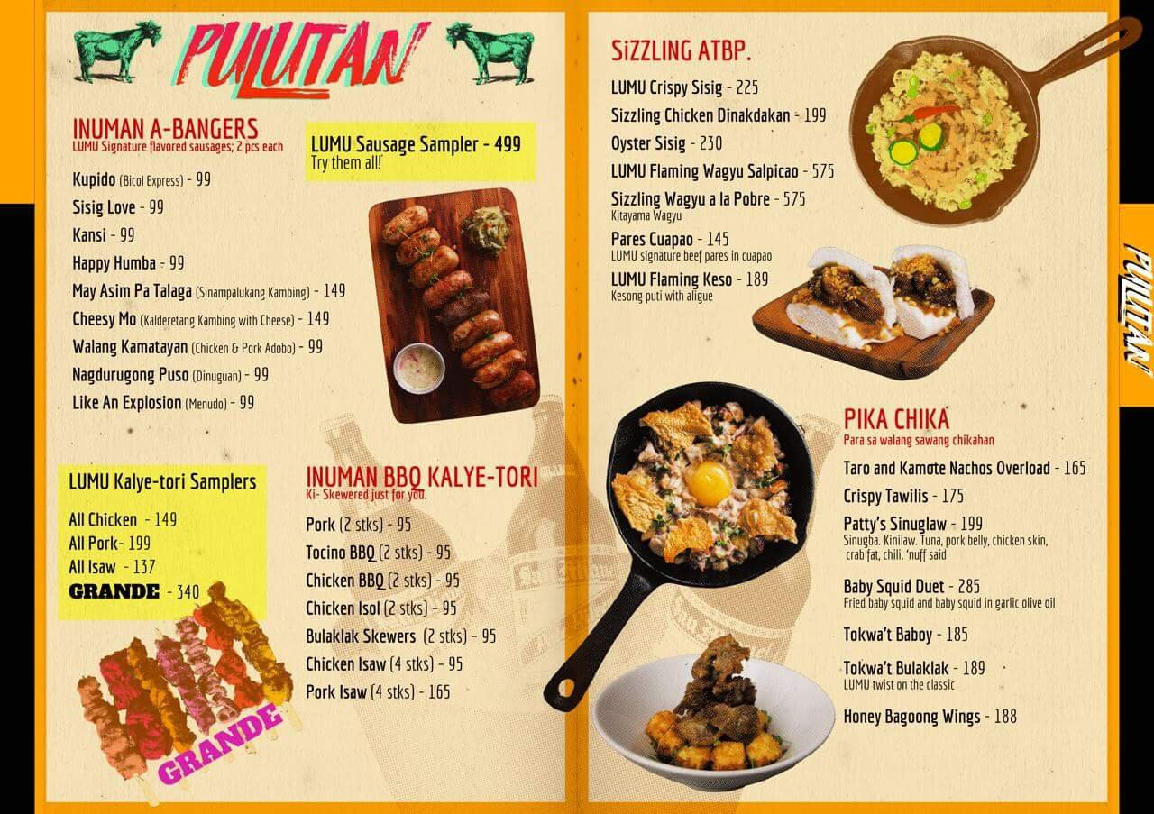 Lumu Beerhouse Amp Filipino Kitchen Menu Clickthecity Food