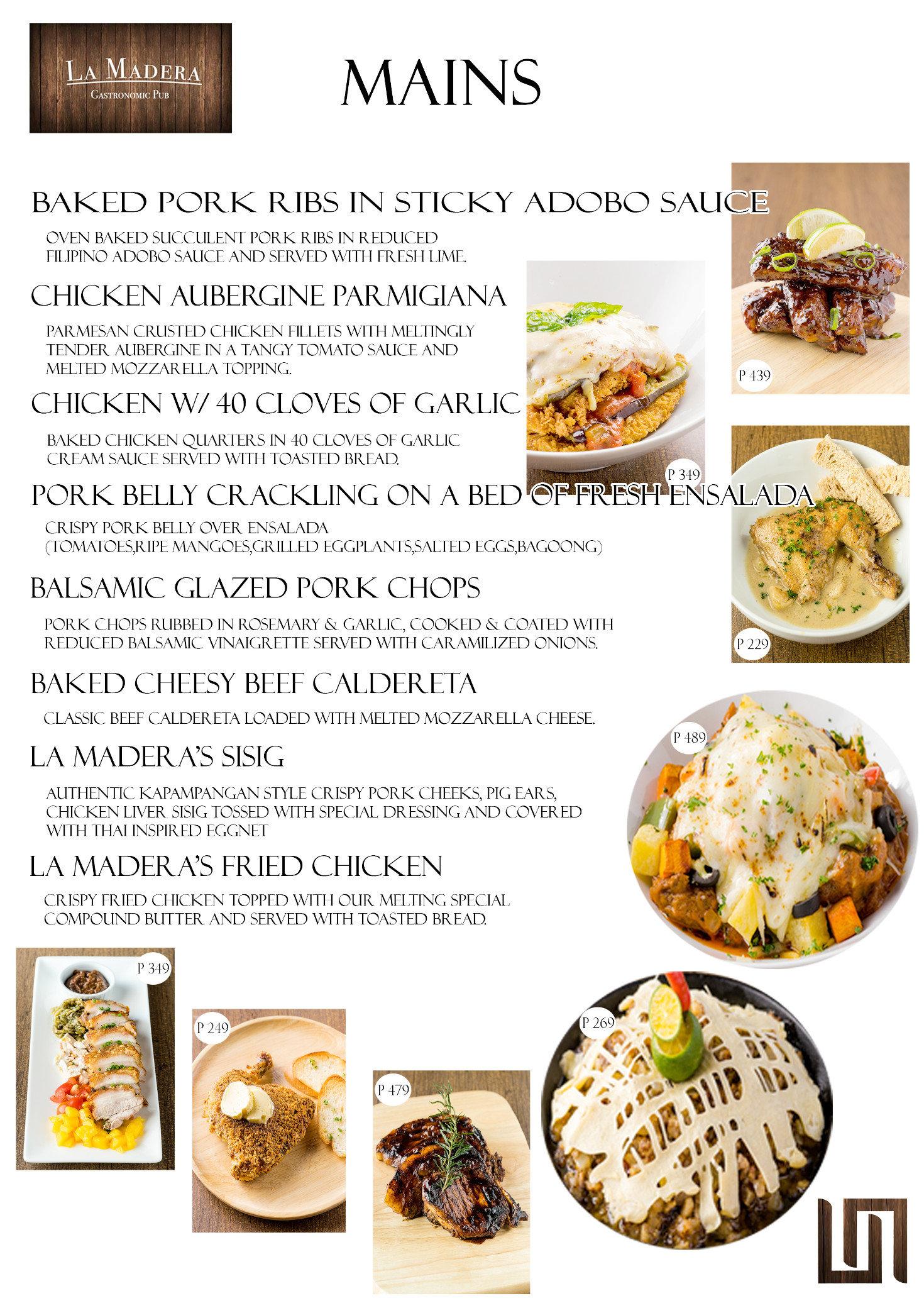La madera gastronomic pub menu clickthecity food drink for Bar food la menu