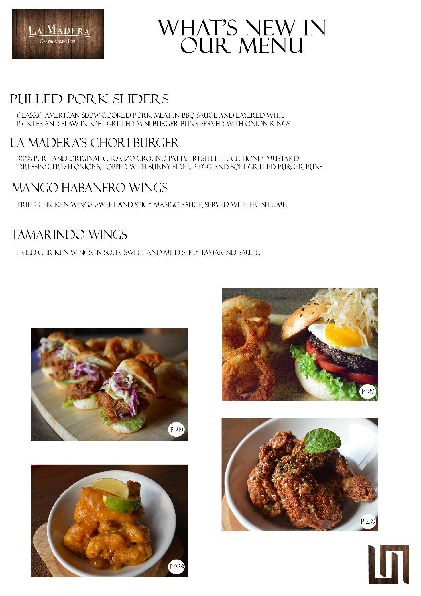 La madera gastronomic pub tomas morato ave quezon city for Bar food la menu