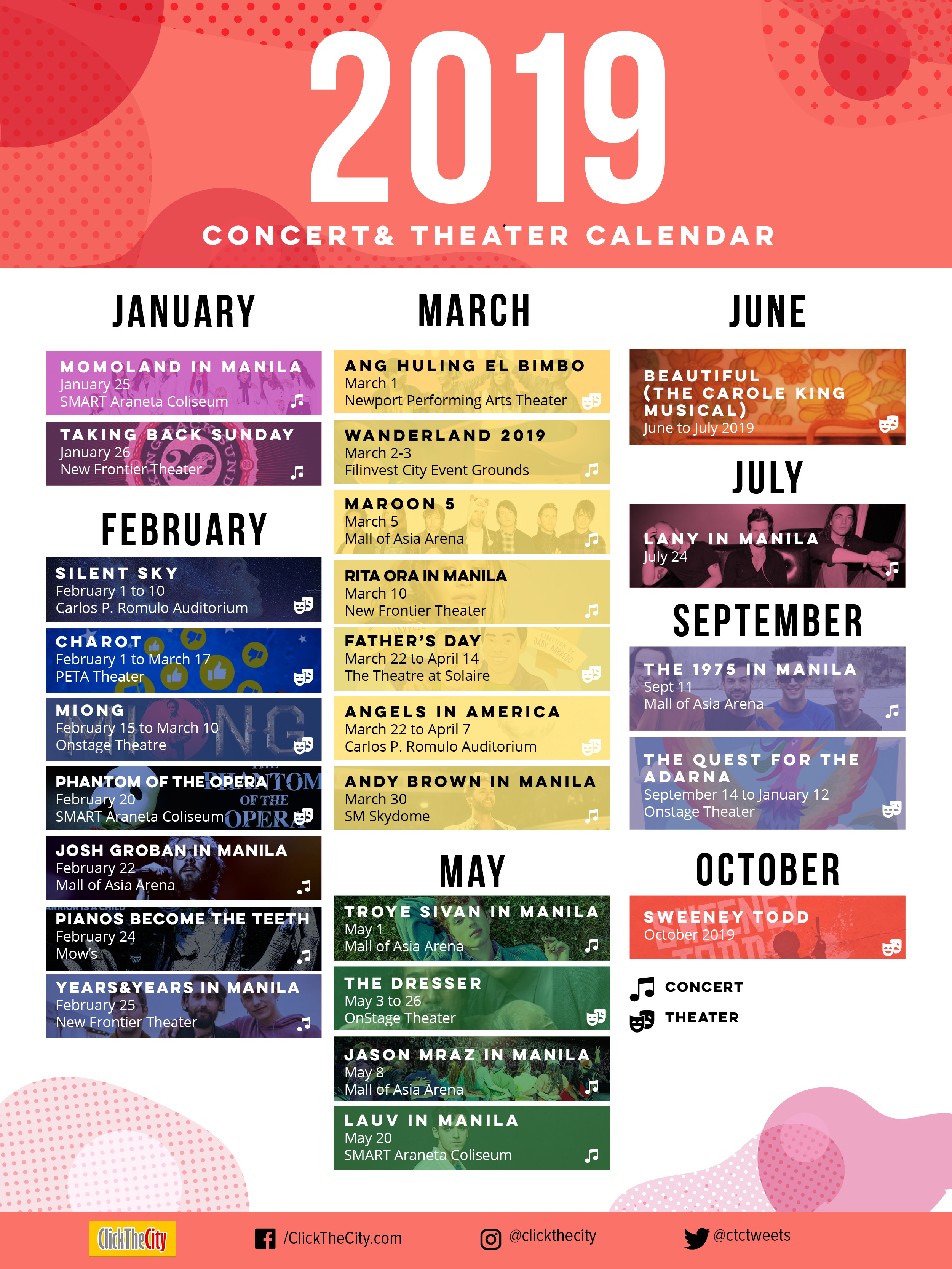 Click The City Concert and Theater Calendar 2019