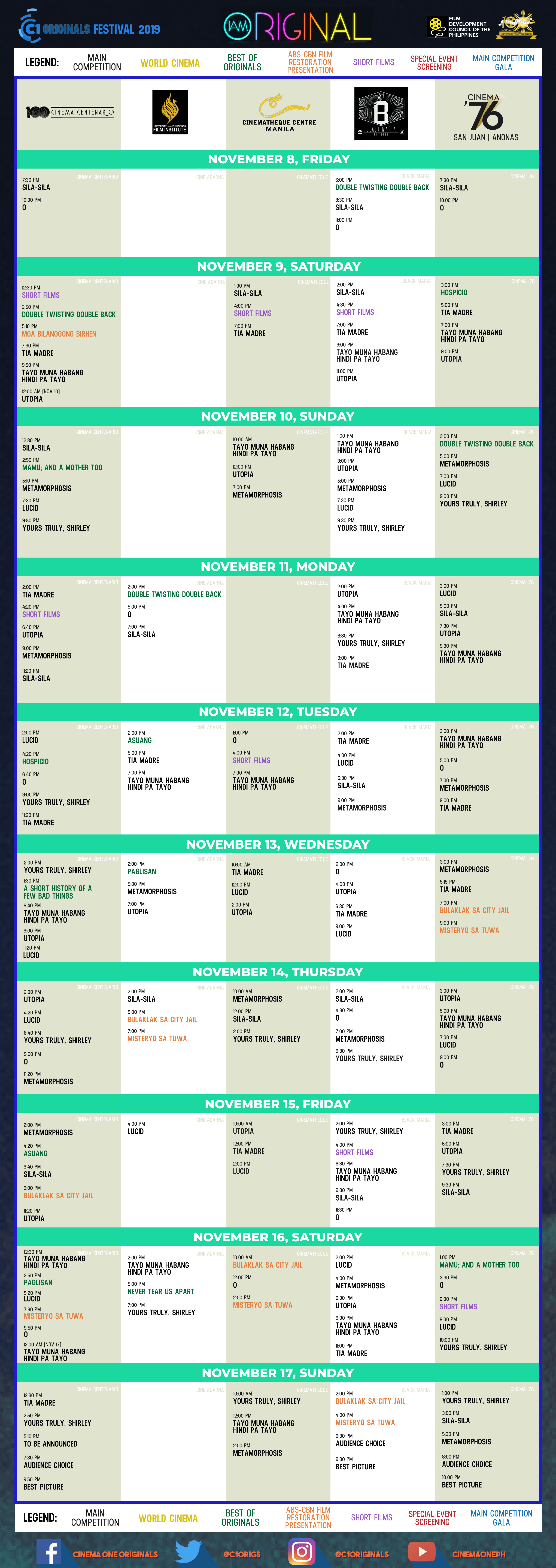 cinema one originals full schedule clickthecity