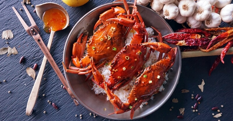 Sweet Chili Crab with Coconut Rice