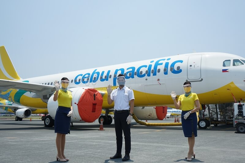Cabin crew in PPEs