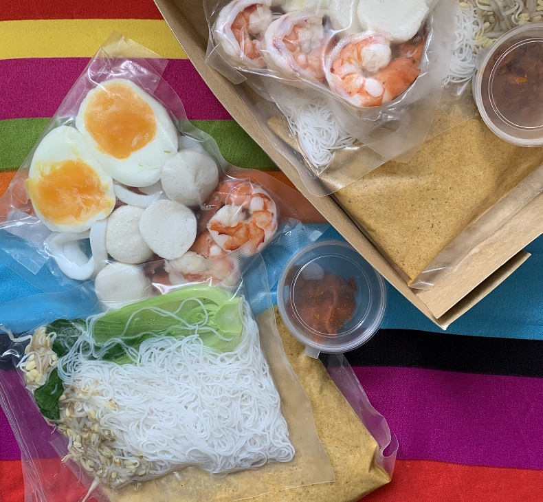 Your Laksa Kit comes with all laksa ingredients in boiling bags for easy cooking at home.