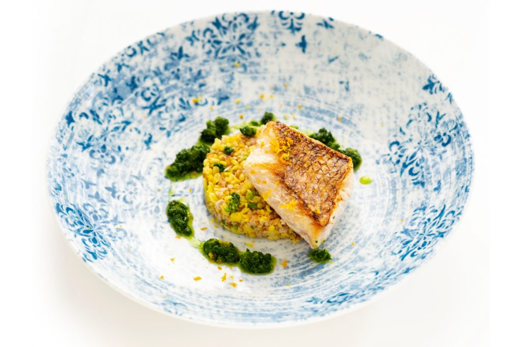 Grilled Seabass with Bulgur Yellow Lentil Risotto