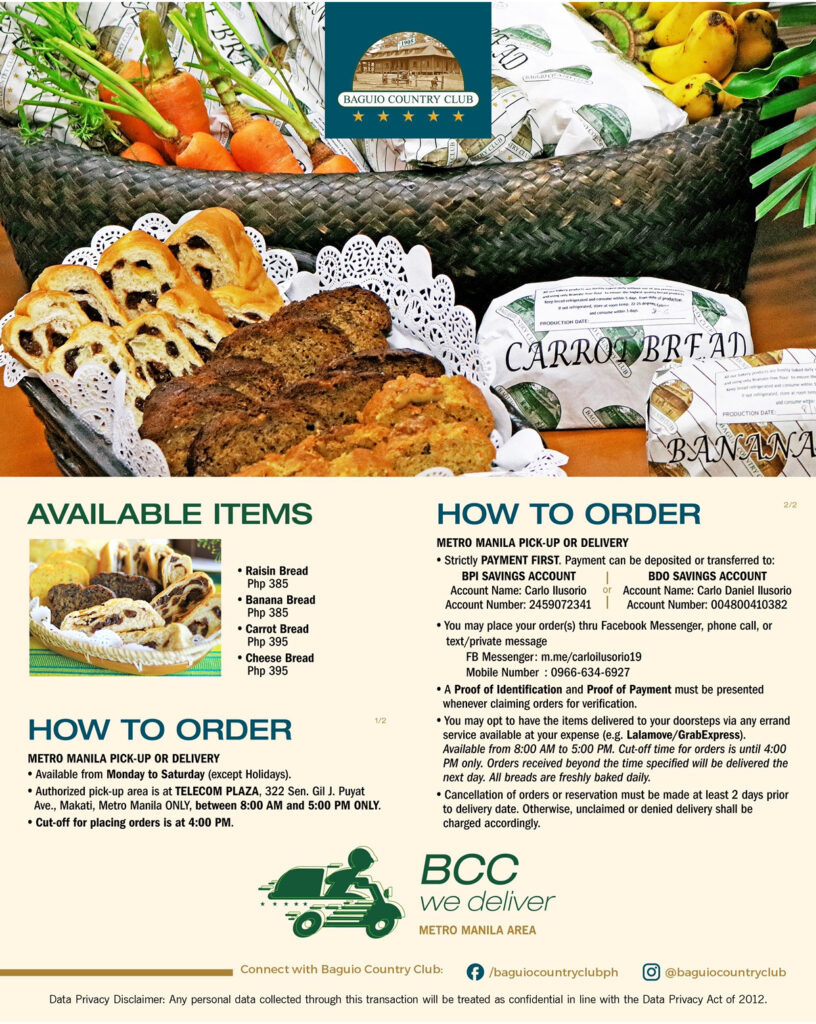 Baguio Country Club's Metro Manila Menu include Raisin Bread and Banana Bread