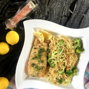 Baked Salmon with Mustard Cream and Garlic Pasta