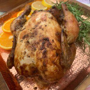 Roast Stuffed Chicken with Chorizos and Raisins