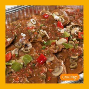 Slow Braised Lengua with Mushroom Sauce