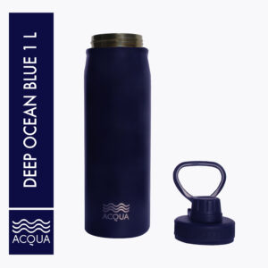 Acqua Sporty 500ml (16 oz) Double Wall and Vacuum Insulated Stainless Steel Drinking Water Bottle/ Flask in Deep Ocean Blue