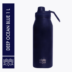 Acqua Classic 1L (32 oz) Double Wall and Vacuum Insulated Stainless Steel Drinking Water Bottle/ Flask in Deep Ocean Blue