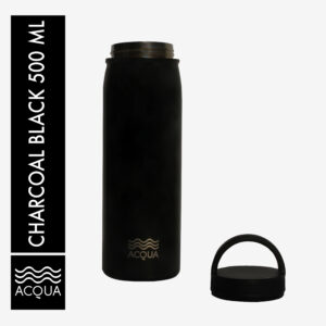 Acqua Classic 500ml (16 oz) Double Wall and Vacuum Insulated Stainless Steel Drinking Water Bottle/ Flask in Charcoal Black