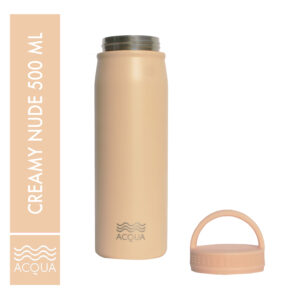 Acqua Classic 500ml (16 oz) Double Wall and Vacuum Insulated Stainless Steel Drinking Water Bottle/ Flask in Creamy Nude