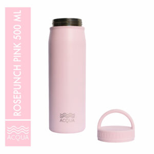 Acqua Classic 500ml (16 oz) Double Wall and Vacuum Insulated Stainless Steel Drinking Water Bottle/ Flask in Rosepunch Pink