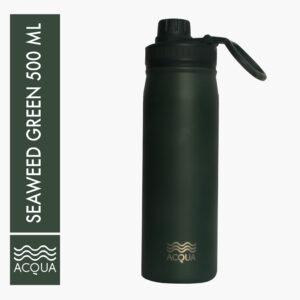 Acqua Sporty 500ml (16 oz) Double Wall and Vacuum Insulated Stainless Steel Drinking Water Bottle/ Flask in Seaweed Green
