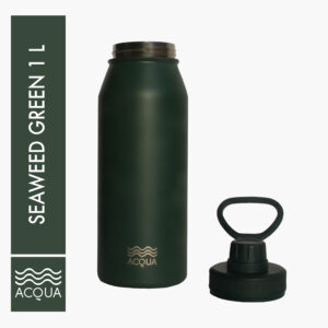 Acqua Classic 1L (32 oz) Double Wall and Vacuum Insulated Stainless Steel Drinking Water Bottle/ Flask in Seaweed Green