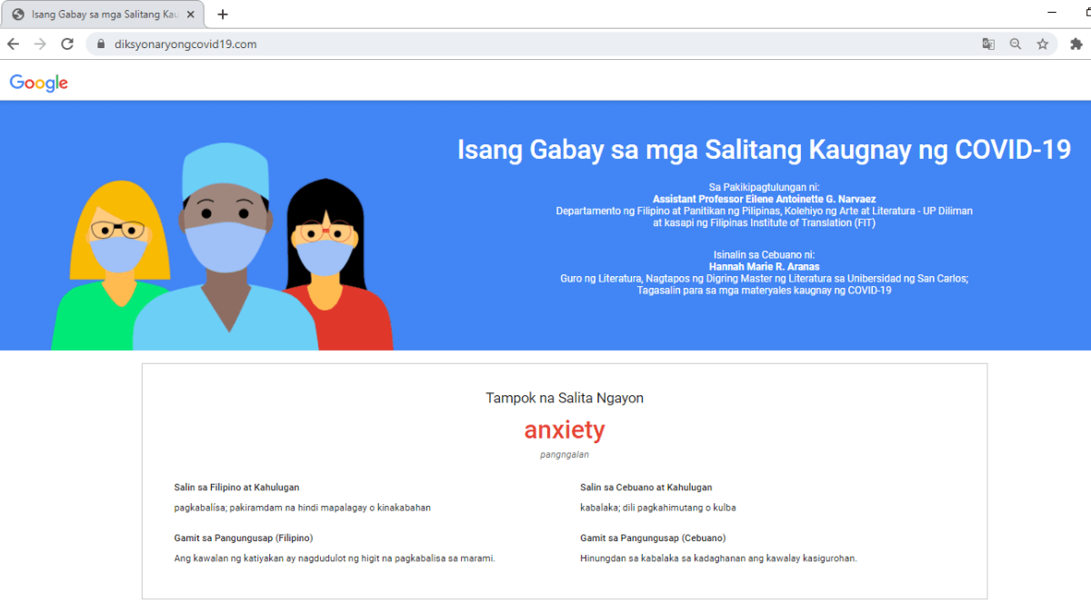 Google Philippines Launches Site with COVID-19 Terminologies in Filipino and Cebuano