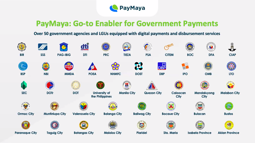 Paymaya Partners with over 50 Government Agencies