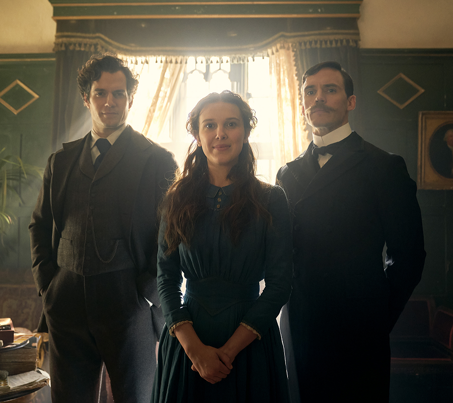 Holmes siblings: Henry Cavill as Sherlock Holmes, Millie Bobby Brown as Enola Holmes, and Sam Claflin as Mycroft Holmes