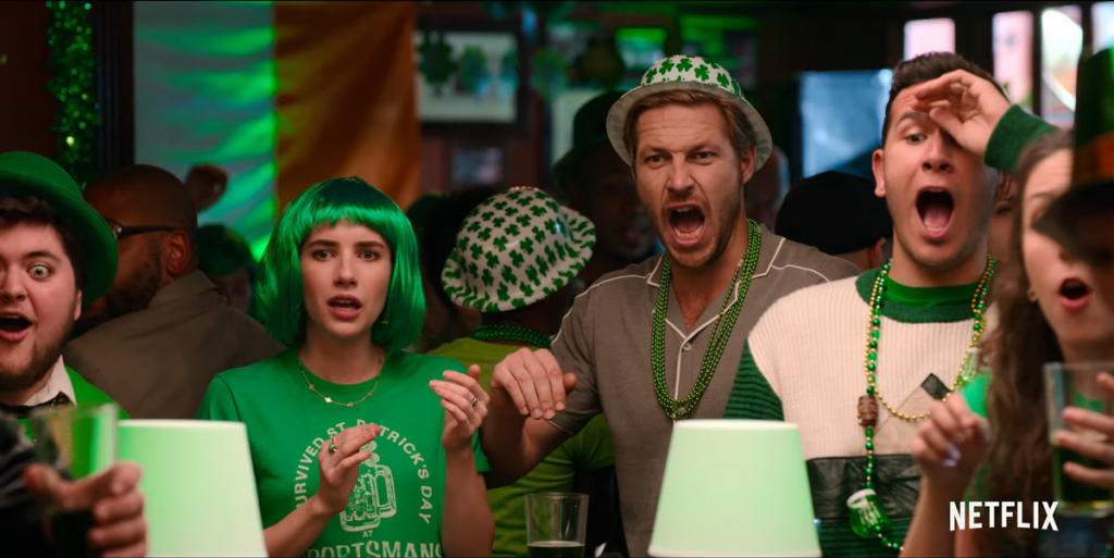 Emma Roberts and Luke Bracey as Sloane and Jackson in Holidate